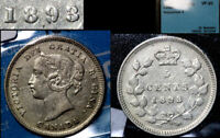 BLACK FRIDAY SALE   CANADA 5 CENTS 1893 REPUNCHED 9 HI/LO CCCS VF20  BF46