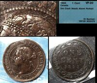 BLACK FRIDAY SALE   CANADA CENT   1893 DIE CLASH BEADS   VF20  BF93