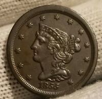 HIGH GRADE 1855 BRAIDED HAIR HALF CENT-ONLY 56,500 MINTED-GREAT DARK COLOR