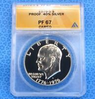 1976 S ANACS PF 67 CAM DWIGHT D. EISENHOWER SILVER DOLLAR, PROOF 67 CAMEO