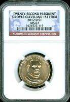 2012-D GROVER CLEVELAND 1ST TERM DOLLAR NGC MINT STATE 67