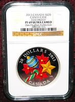 2013 CANADA $20 HOLIDAY SILVER & VENETIAN GLASS CANDY CANE NGC PF 69 ULTRA CAMEO