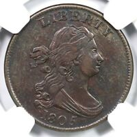1805 C-4 R-2 NGC EXTRA FINE  45 LG 5 W/ STEMS DRAPED BUST HALF CENT COIN 1/2C