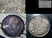 JANUARY SALE   CANADA 5 CENT   1907 LOW 7   ICCS AU50  BFA081
