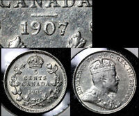 JANUARY SALE   CANADA 5 CENTS   1907 LOW 7   EF   BFA349