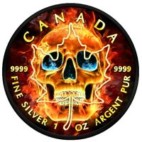 2018 CANADA $5 MAPLE LEAF BURNING SKULL 1 OZ SILVER COIN RUT