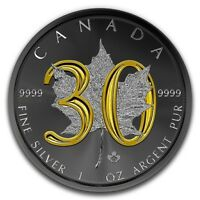 2018 CANADA $5 30TH ANNIV MAPLE LEAF 1 OZ SILVER COIN 24KT G