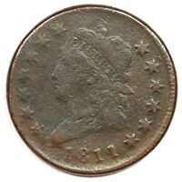 1811 S 287 R 2 CLASSIC HEAD LARGE CENT COIN 1C