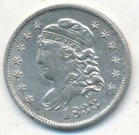 1833 CAPPED BUST SILVER HALF DIME- GENTLY CIRCULATED HALF DIME-FREE S/H-INV2