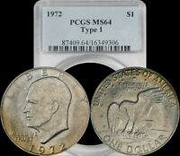 1972 EISENHOWER DOLLAR PCGS MINT STATE 64 TYPE 1 BRONZE/YELLOW TONED IKE