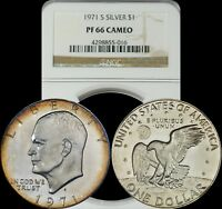 1971 S EISENHOWER SILVER DOLLAR NGC PF66 CAMEO ORANGE/BLUE/LIGHT YELLOW TONED