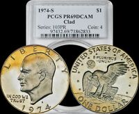 1974-S EISENHOWER DOLLAR PCGS PR69DCAM CLAD VARIETY LIGHT YELLOW TONING