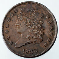 1833 HALF CENT EXTRA FINE  CONDITION, BROWN COLOR,  DETAIL ON BOTH SIDES