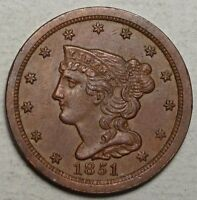 1851 HALF CENT, ORIGINAL CHOICE UNCIRCULATED TYPE COIN,    0626-05