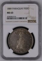 PARAGUAY 1 PESO 1889. NGC MS 63. TONED OBVERSE.