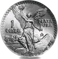 1985 1 OZ SILVER MEXICAN LIBERTAD LETTERED EDGE COIN.