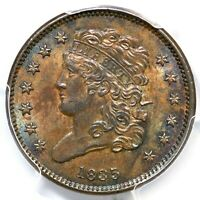 1835 C-1 PCGS MINT STATE 62 BN CLASSIC HEAD HALF CENT COIN 1/2C
