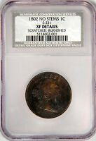 1802 LARGE CENT  NO STEMS S-231  NGC NCS NUMISMATIC CONSERVATION SERV. EXTRA FINE