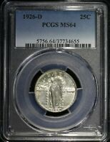 1926 D STANDING LIBERTY QUARTER PCGS MINT STATE 64 LUSTROUS WELL STRUCK MOSTLY WHITE COIN
