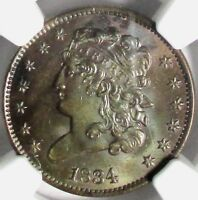 1834 CLASSIC HEAD HALF CENT, C-1  NGC MINT STATE 62 BN  GREAT COLOR