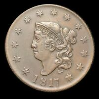 1817 CORONET HEAD LARGE CENT CHOICE SMOOTH SURFACES   STRONG