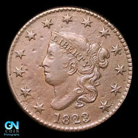 1823/2 CORONET HEAD LARGE CENT  STRONG HIGH GRADE    DATE
