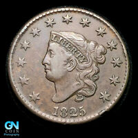 1825 CORONET HEAD LARGE CENT  NICE SURFACES       KEY DATE     Z30