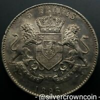 SCC CONGO BELGIAN FREE STATE 5 FRANCS    1896/4     SILVER CROWN DOLLAR COIN