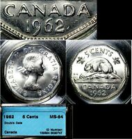 CANADA 5 CENTS   1962   DOUBLE DATE   MS64  L032
