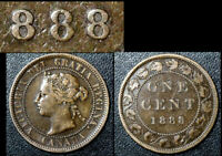 MARCH SALE   CANADA 1 CENT   1888 REPUNCHED 888   F    BFA593