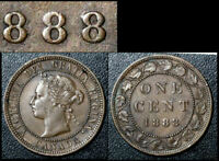 MARCH SALE   CANADA 1 CENT   1888 REPUNCHED LAST 8 RT/LT   EF    BFA595