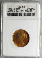 1886 S ANACS AU 58 GOLD AUSTRALIA SOVEREIGN    NO RESERVE