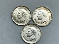 1937 1938 AND 1939 RE ENGRAVED DATE CANADIAN DIMES