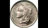 1865 THREE CENT NICKEL PIECE GRADING GOOD BARGAIN PRICED AND