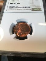 1954 LINCOLN NGC MINT STATE 66 GEM PLUS - SEE OTHERS IN MY STORE
