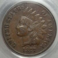 1877 INDIAN CENT, KEY DATE,  FINE, VF20, ORIGINAL PCGS CERTIFIED COIN