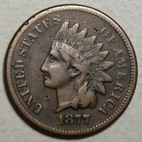 1877 INDIAN CENT, CLASSIC KEY DATE COIN - DISCOUNTED MID GRADE COIN   0117-01