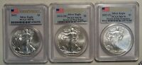 SET OF PCGS 2012 SILVER EAGLES, FIRST STRIKE, ALL 3 MINTS  0317-05