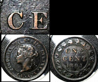 MARCH SALE   CANADA 1 CENT   1891 LDLL O2 DIE CHIP C CENT EARLY   EF   BFA277