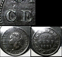 MARCH SALE   CANADA 1 CENT   1891 LDLL O2 DIE CHIP C CENT EARLY   EF   BFA364