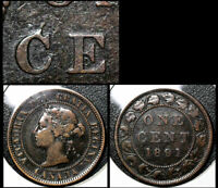 MARCH SALE   CANADA 1 CENT   1891 LDLL O2 DIE CHIP C CENT EARLY   VF   BFA366