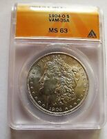1904 O BU MORGAN DOLLAR VAM 35A ANACS MINT STATE 63 COUNTER CLASH OBV DBL CLASHED NST