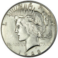 1923-S PEACE DOLLAR   FLASHY AU/BU ABOUT UNCIRCULATED  PRICED RIGHT
