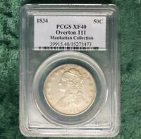 1834 O-111 PCGS EXTRA FINE -40 MANHATTAN NEW YORK COLLECTION CAPPED BUST HALF DOLLAR LOOK