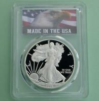 2008 W PCGS PROOF 70 DEEP CAMEO AMERICAN SILVER EAGLE DOLLAR, MADE IN USA LABEL