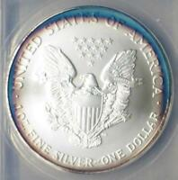 2006 ANACS MINT STATE 69 FIRST STRIKE SILVER EAGLE $1, BLUE & PURPLE TARGET COLOR TONE