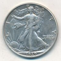 1939 WALKING LIBERTY SILVER HALF DOLLAR- GENTLY CIRCULATED-FREE S/H INV:2