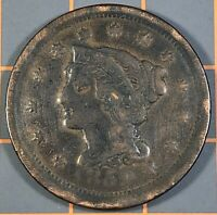 1852 BRAIDED HAIR LARGE CENT, CLEANED