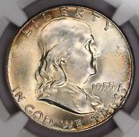 1955-P FRANKLIN HALF DOLLAR NGC MINT STATE 64 FBL BEAUTIFUL TONED COLORFUL TONING 11A