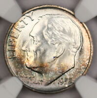 1952-P ROOSEVELT DIME NGC MINT STATE 66 FT GORGEOUS ALBUM TONED COLORFUL TONING 12R